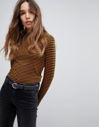JDY High Neck Striped Top - Brown
