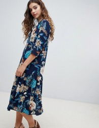 JDY high neck three quarter sleeve floral dress - Multi