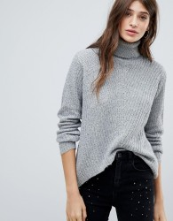 JDY Highneck Oversized Ribbed Knit - Grey