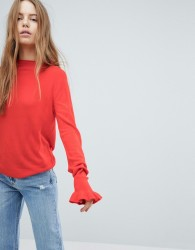 JDY Knitted Frill Cuff Jumper - Red