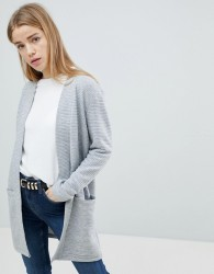 JDY Knitted Ribbed Cardigan - Grey