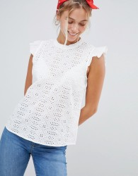JDY Lace Frill Shoulder Blouse - White