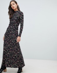 JDY long sleeve floral print high neck maxi dress - Multi