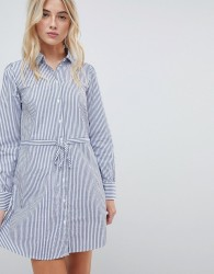 JDY long sleeve striped belted shirt dress - Multi
