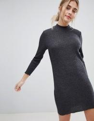 JDY Mei High Neck Jumper Dress - Grey
