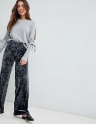 JDY Mona Crushed Velvet Wide Leg Trousers - Navy