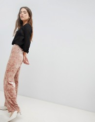 JDY Mona Crushed Velvet Wide Leg Trousers - Pink