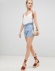 Jdy Paperbag Shorts With Braiding Detail - Blue