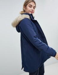 JDY Pebble Parka Coat with Faux Fur Trim - Blue