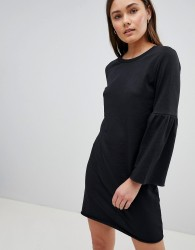 JDY Prove Trumpet Sleeve Sweater Dress - Black