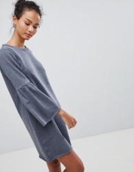 JDY Prove Trumpet Sleeve Sweater Dress - Blue