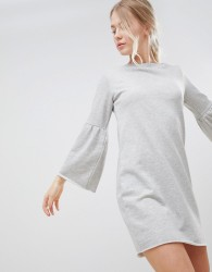 JDY Prove Trumpet Sleeve Sweater Dress - Grey