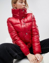 JDY Roona Quilted High Neck Jacket - Red