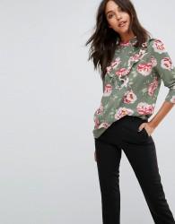 JDY Rose Print High Neck Blouse - Green