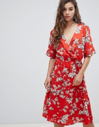 JDY short sleeve floral wrap dress - Multi