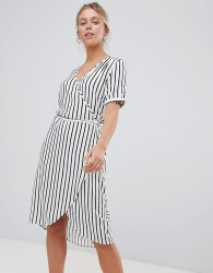 JDY short sleeve stripe wrap dress - Multi