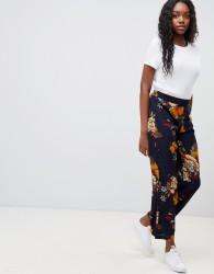 JDY Sofi floral print wide leg trousers - Navy