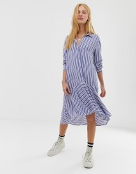 JDY stripe button through midi dress - Blue
