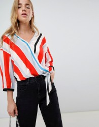 JDY Stripe Wrap Blouse - Multi