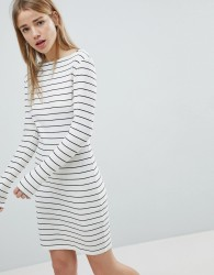 JDY Striped Ribbed Bodycon Dress - White