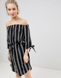 JDY Striped Woven Bardot Dress - Multi