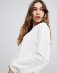 JDY Sweatshirt With Frill Sleeve - White