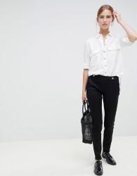 JDY Tara button waist skinny trousers - Black