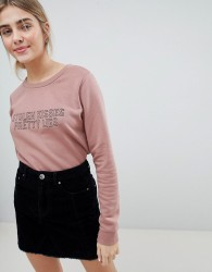 JDY Tori Stolen Kisses Embroidered Sweatshirt - Pink