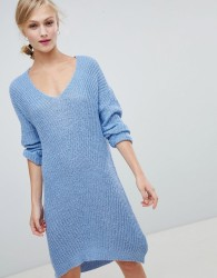 JDY v-neck knit mini jumper dress in blue - Blue