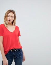 JDY V Neck T-Shirt - Red