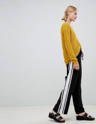 JDY wide leg side stripe trouser - Black