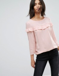 JDY Woven Blouse With Frill Detail - Pink