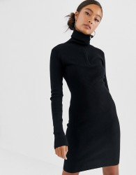JDY zip neck ribbed mini jumper dress in black - Black