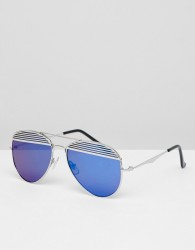 Jeepers Peepers Aviator Sunglasses With Coloured Lens - Silver