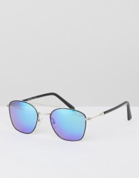 Jeepers Peepers Black Aviator Sunglasses With Blue Lens - Black