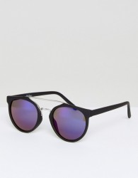 Jeepers Peepers Black Round Sunglasses With Blue Lens - Black