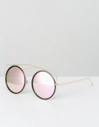 Jeepers Peepers Round Black Sunglasses With Pink Lens - Black