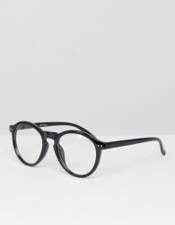 Jeepers Peepers Round Clear Lens Glasses In Black - Black