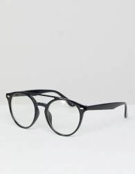 Jeepers Peepers Round Clear Lens Glasses With Double Brow - Black