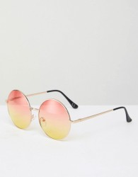 Jeepers Peepers Round Metal Sunglasses With Gradient Lens - Gold