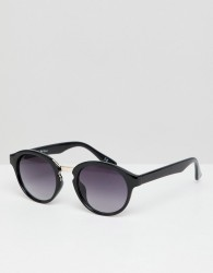 Jeepers Peepers round sunglasses in black with gradient lens - Black