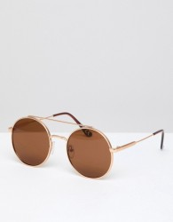 Jeepers Peepers Round Sunglasses In Gold - Gold
