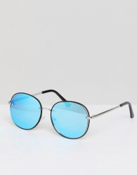 Jeepers Peepers Round Sunglasses With Blue Lens - Silver