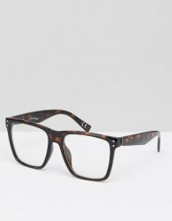 Jeepers Peepers Square Clear Lens Glasses In Tort - Brown