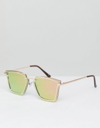 Jeepers Peepers Square Sunglasses In Rose Gold - Gold