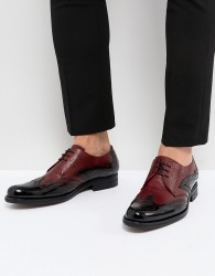 Jeffery West Cordioni Mixed Leather Brogue Shoes In Black - Black