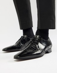 Jeffery West Escobar brogue shoes in black croc - Black