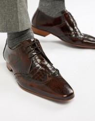 Jeffery West Escobar croc brogue shoes in brown - Brown