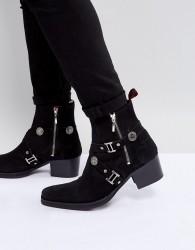 Jeffery West Manero Buckle Boots In Black Suede - Black