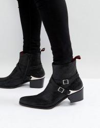 Jeffery West Manero Star Buckle Boots In Black - Black